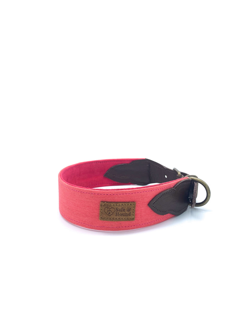 Sample Sale: Desmond Collar in Coral Pink Canvas + Chocolate Brown Leather + Old Gold Hardware