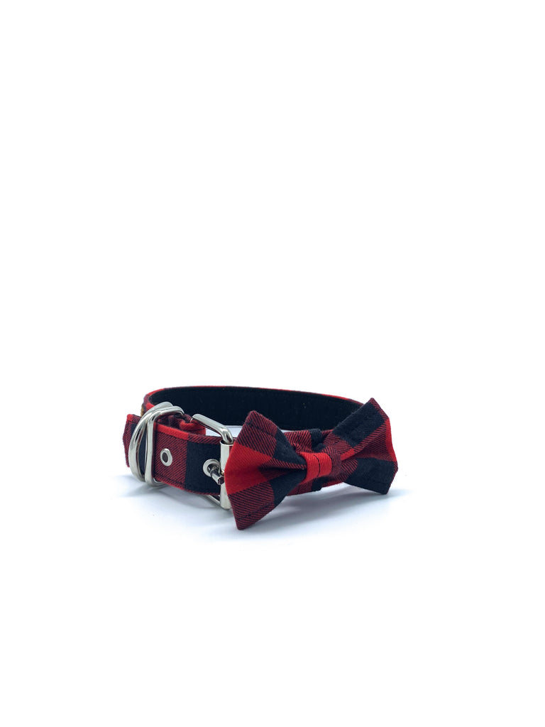 Sample Sale: Jaxon Collar & Bow Set in Red/Black Buffalo Check Plaid + Silver Hardware