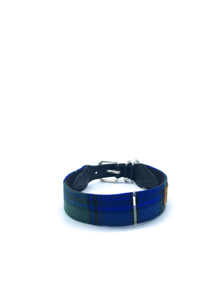 Desmond Collar in Royal Blue/Green/White/Black Tartan Plaid + Black Leather + Silver Hardware