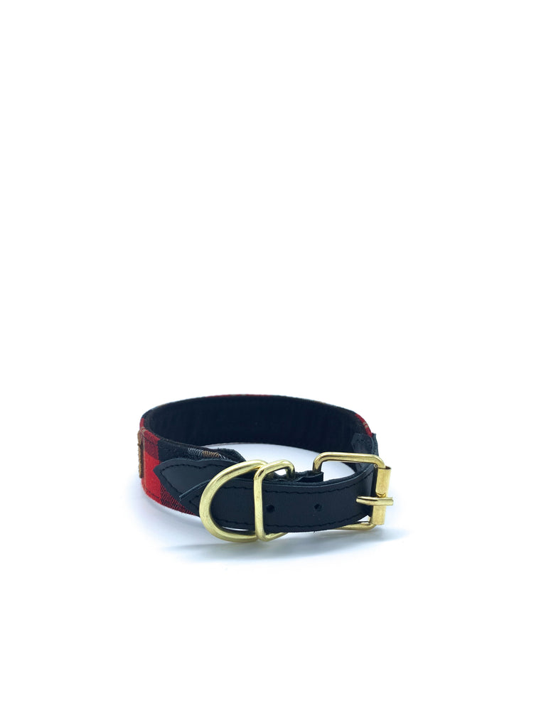 Sample Sale: Desmond Collar in Red/Gold Herringbone Plaid + Black Leather + Gold Hardware