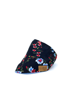 Cotton Snap Bandanna in Red Carnations/Black/Periwinkle Blue