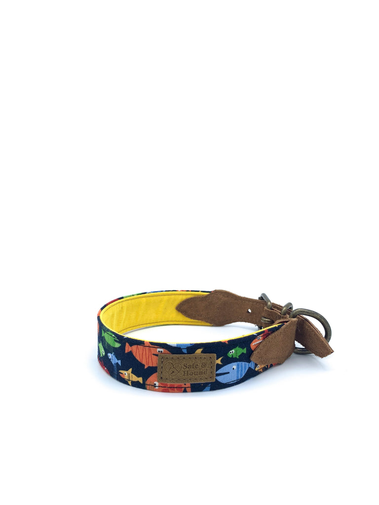Desmond Collar in Fish Print/Navy + Brushed Saddle Brown Leather + Old Gold Hardware