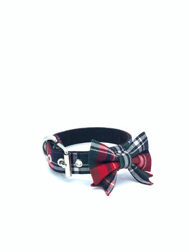 Jaxon Collar & Bow in Navy/Red/Green/White Tartan Plaid + Silver Hardware