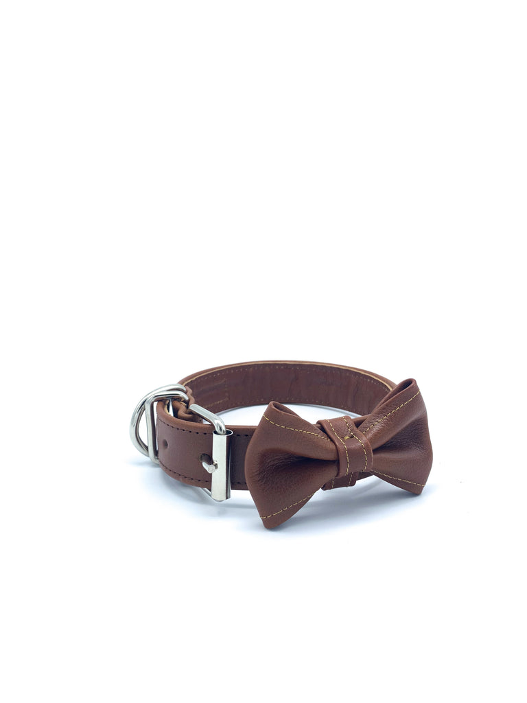 Sample Sale: Ella Collar & Bow Tie in Honey Tan Leather + Silver Hardware