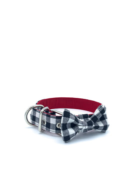 Jaxon Collar & Bow in Black/White Buffalo Check Plaid + Silver Hardware