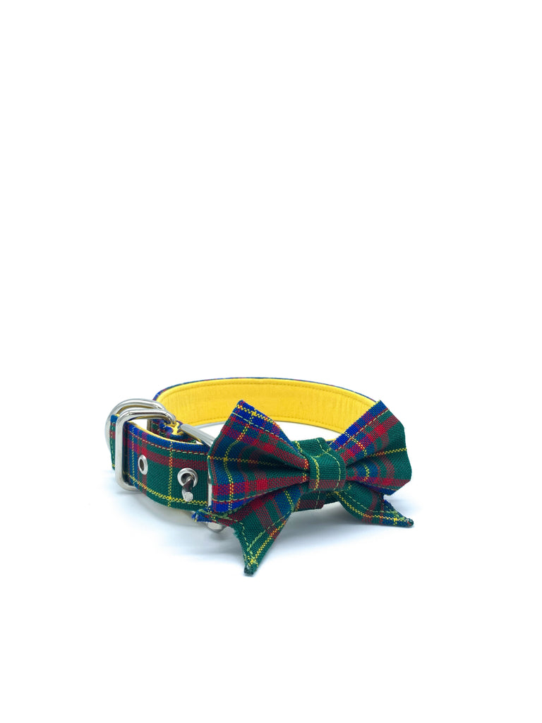 Jaxon Collar & Bow in Green/Blue/Yellow/Red Tartan Plaid + Silver Hardware