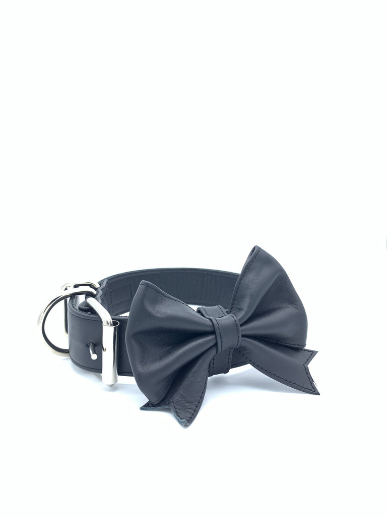 Sample Sale: Ella Collar & Bow Set in Black Leather + Silver Hardware