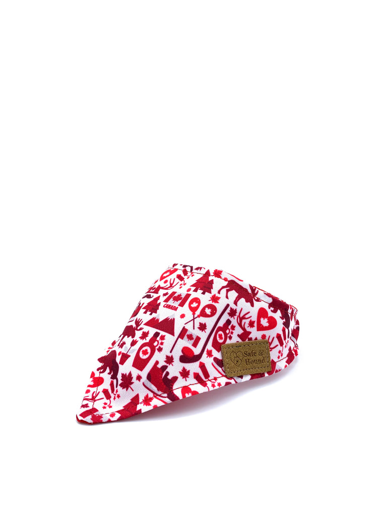 Sample Sale: Cotton Snap Bandanna in Canadian Mountains/Red