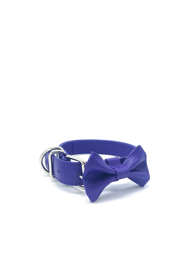 Ella Collar & Bow in Deep Violet Leather + Silver Hardware