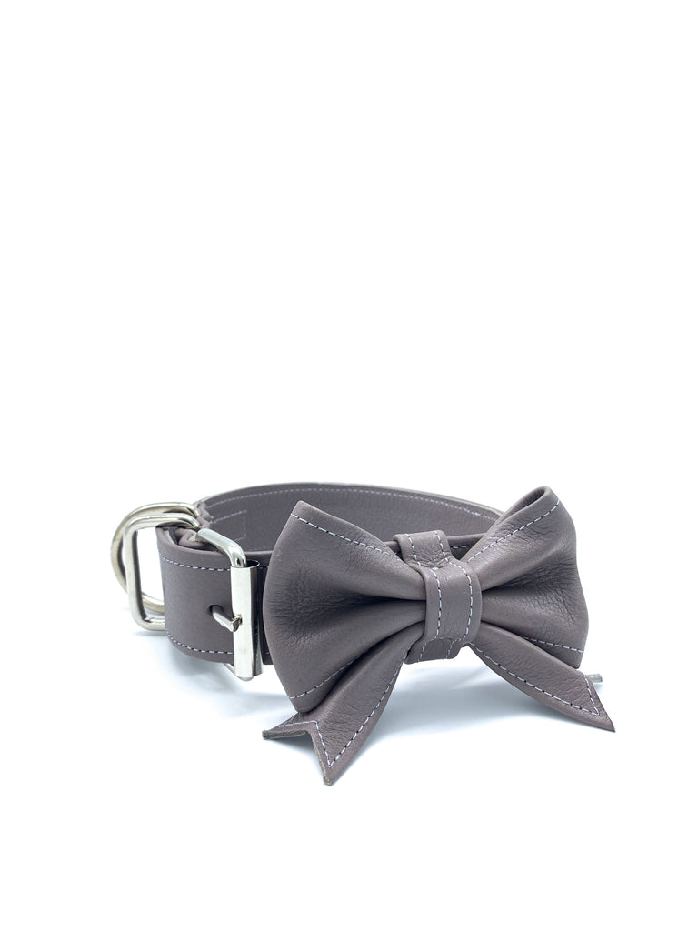 Sample Sale: Ella Collar & Bow Set in Cement Grey Leather + Silver Hardware