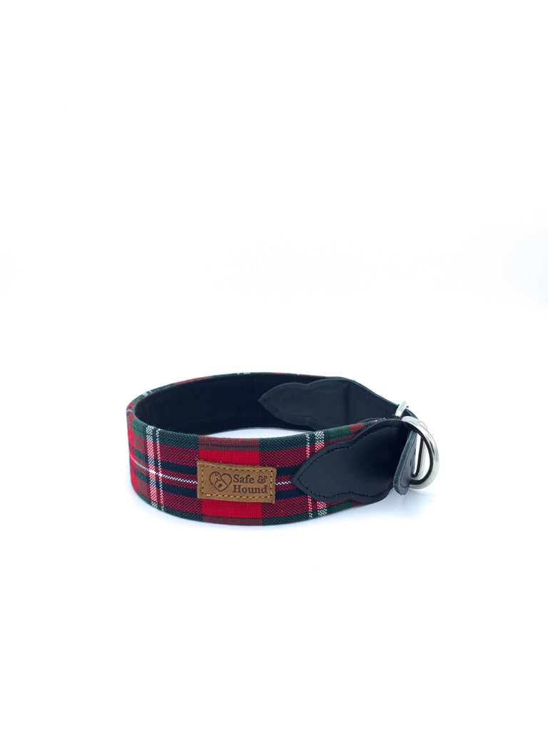 Desmond Collar in Navy/Red/Green Tartan Plaid + Black Leather + Silver Hardware