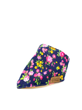 Cotton Snap Bandanna in Pink Roses/Navy/Yellow