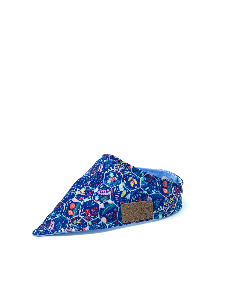 Sample Sale: Christmas Snap Bandanna in Holiday Floral Honeycomb/Sky Blue