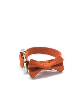 Sample Sale: Jessie Collar & Bow Tie in Turmeric Orange + Silver Hardware