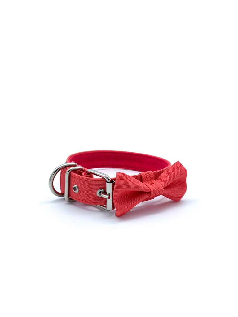 Sample Sale: Jaxon Collar & Bow Set in Coral Pink + Silver Hardware