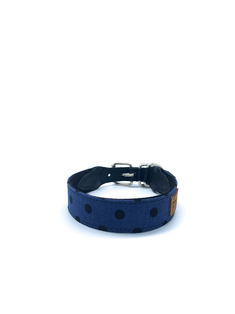 Sample Sale: Desmond Collar in Denim Blue/Black Dots + Black Leather + Silver Hardware