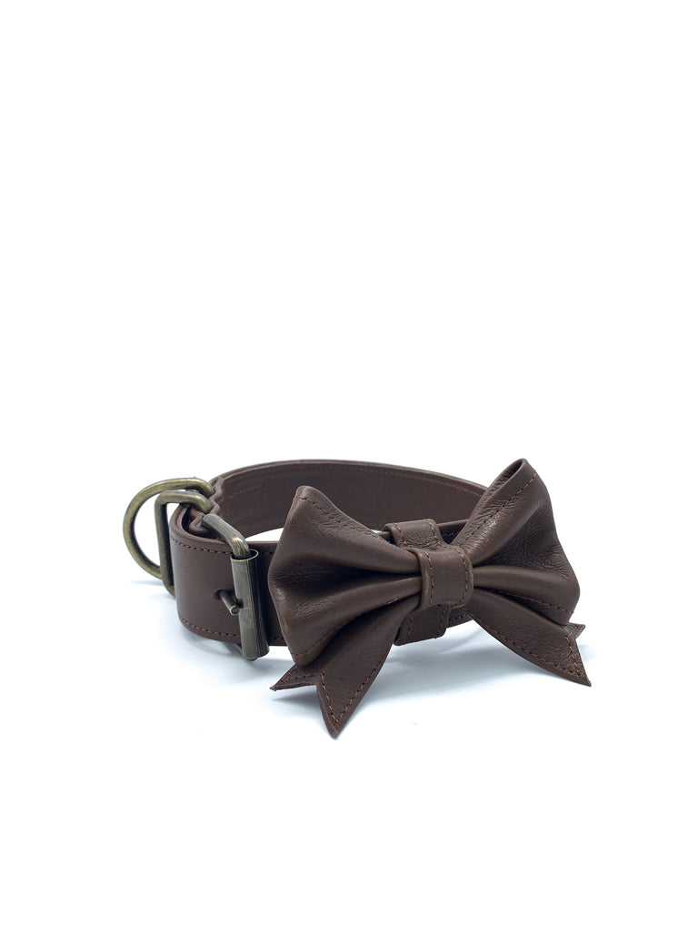Ella Collar & Bow in Chocolate Brown Leather + Old Gold Hardware