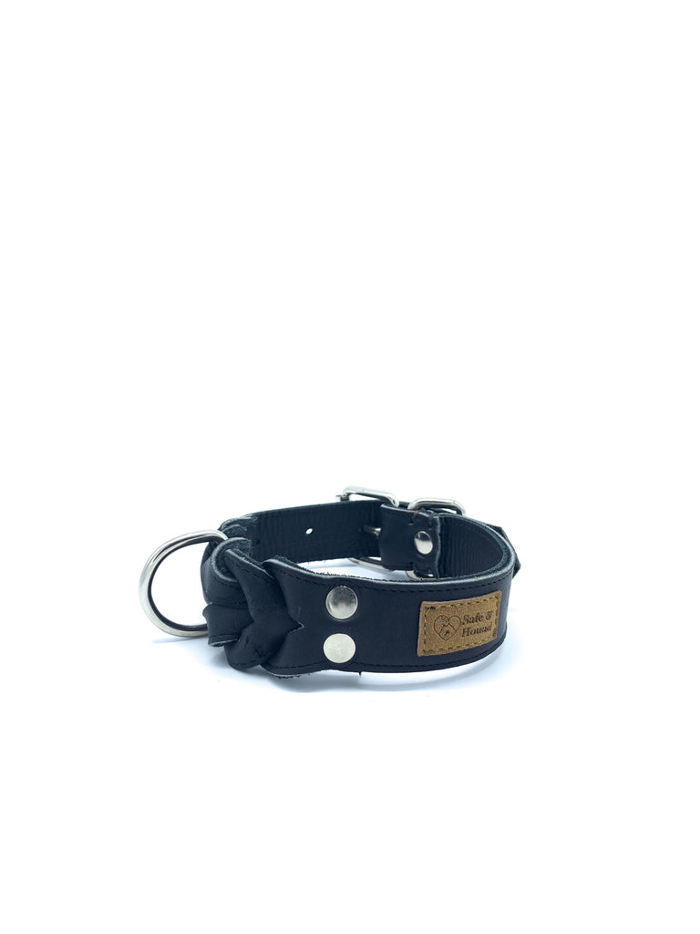 Kayla Collar in Matte Black Leather + Silver Hardware