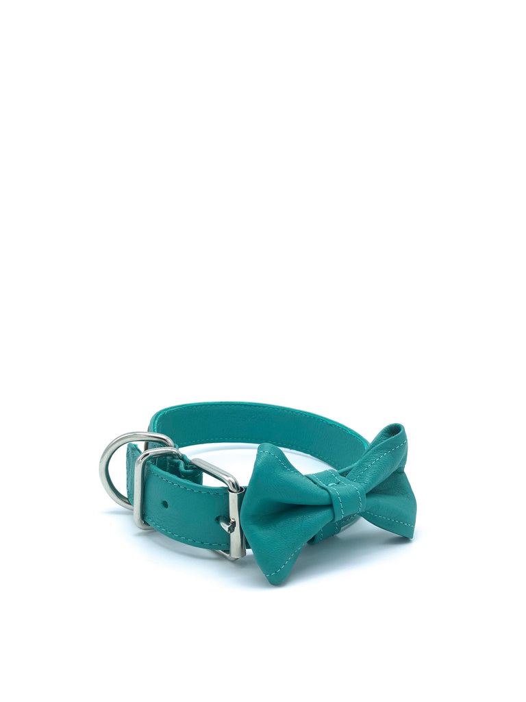 Ella Collar & Bow in Aquamarine Blue Leather + Silver Hardware