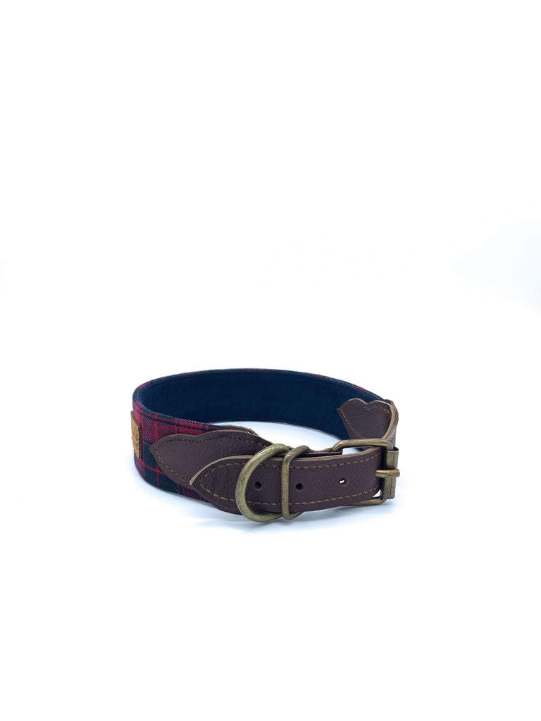 Sample Sale: Desmond Collar in Red/Navy Tartan Plaid + Chocolate Brown Leather + Old Gold Hardware