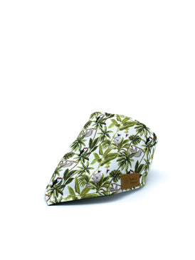 Cotton Snap Bandanna in Sloth + Toucan + Palm Trees/Moss Green