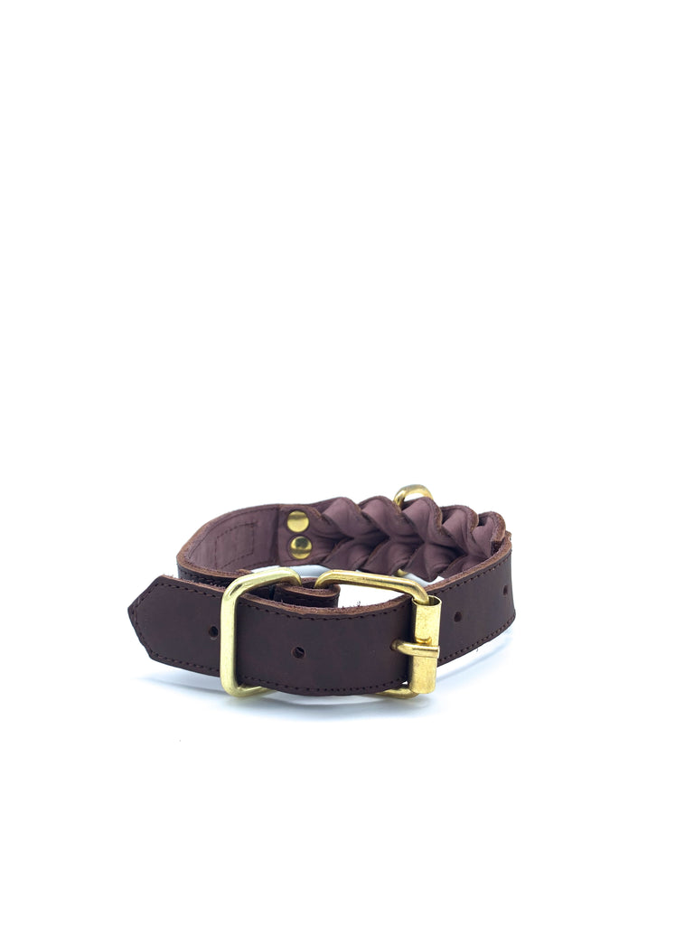 Kayla Collar in Matte Chestnut Brown Leather + Gold Hardware