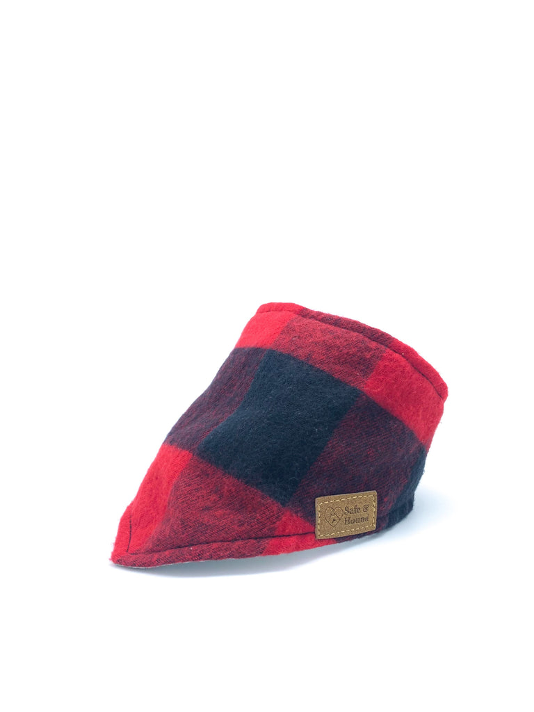Flannel Snap Bandanna in Red/Black Buffalo Check Plaid