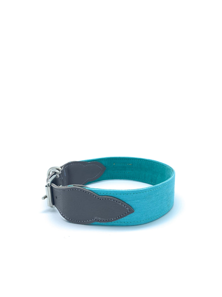 Sample Sale: Desmond Collar in Turquoise Canvas + Cement Grey Leather + Silver Hardware
