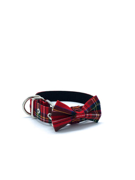 Sample Sale: Jaxon Collar & Bow Set in Red/Green/Yellow Tartan Plaid + Silver Hardware