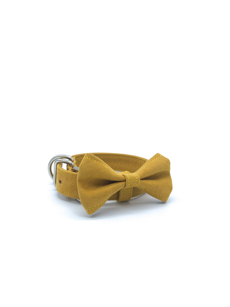 Sample Sale: Jessie Collar & Bow in Mustard Yellow + Silver Hardware