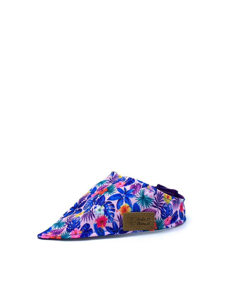 Cotton Snap Bandanna in Pink Hibiscus + Blue Palm Leaves/Royal Purple