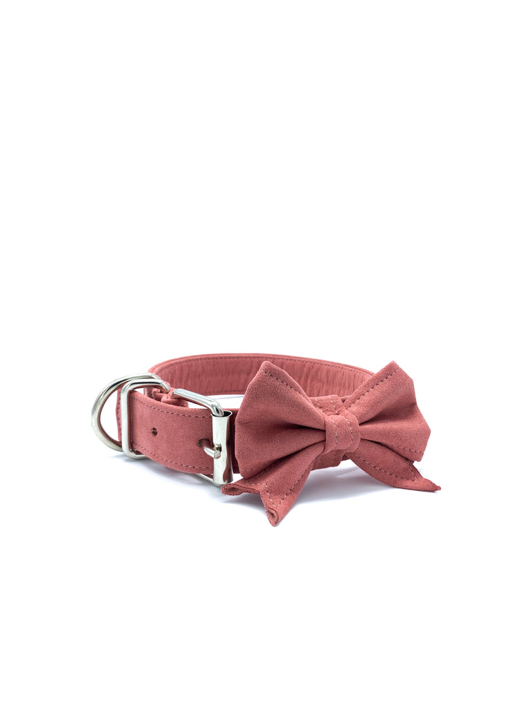 Sample Sale: Jessie Collar & Bow in Peach Rose + Silver Hardware