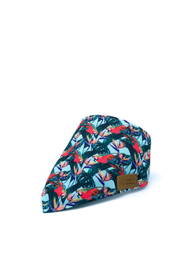 Cotton Snap Bandanna in Parrots + Birds of Paradise/Forest Green