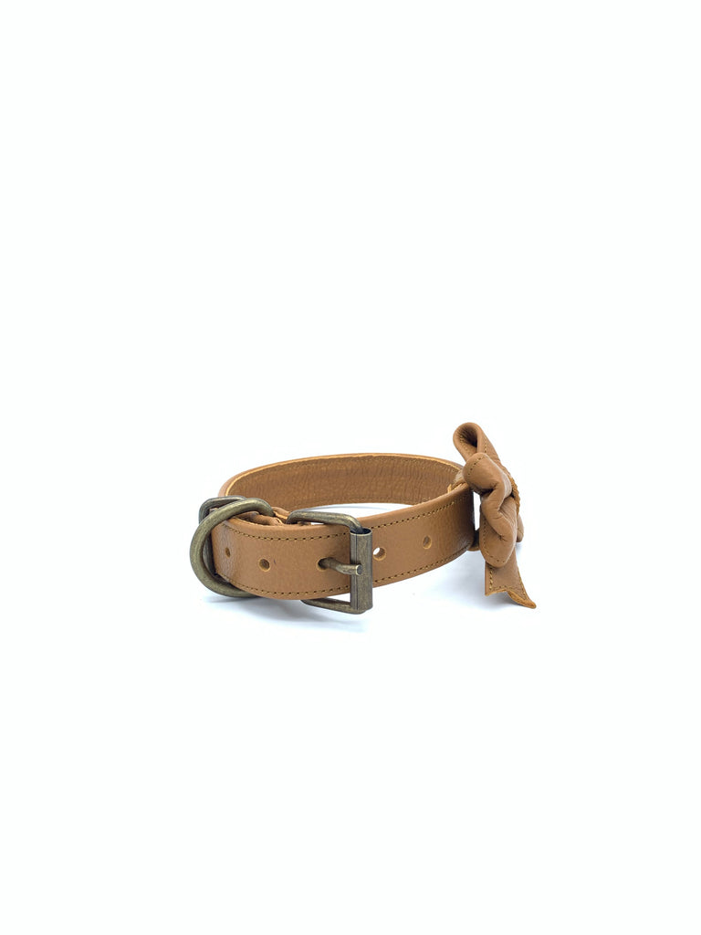 Sample Sale: Ella Collar & Bow Set in Tan Leather + Old Gold Hardware