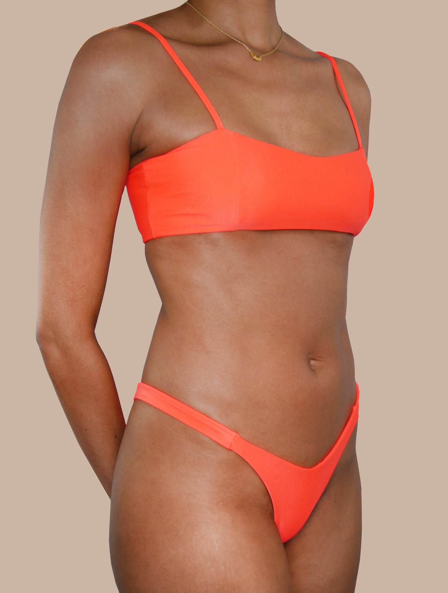 Neon orange 2-piece swimsuit