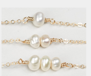 Dainty Pearl Bar Necklace