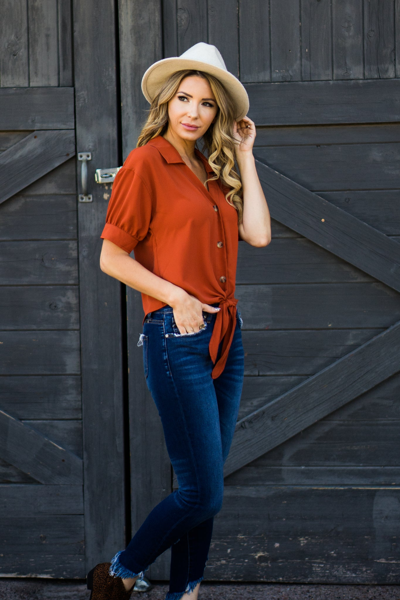 Far, Far Away Tie Blouse-Burnt Orange