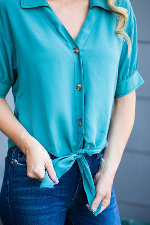Far, Far Away Tie Front Blouse- Green