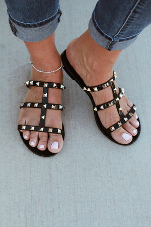 Power Studded Sandal-Black