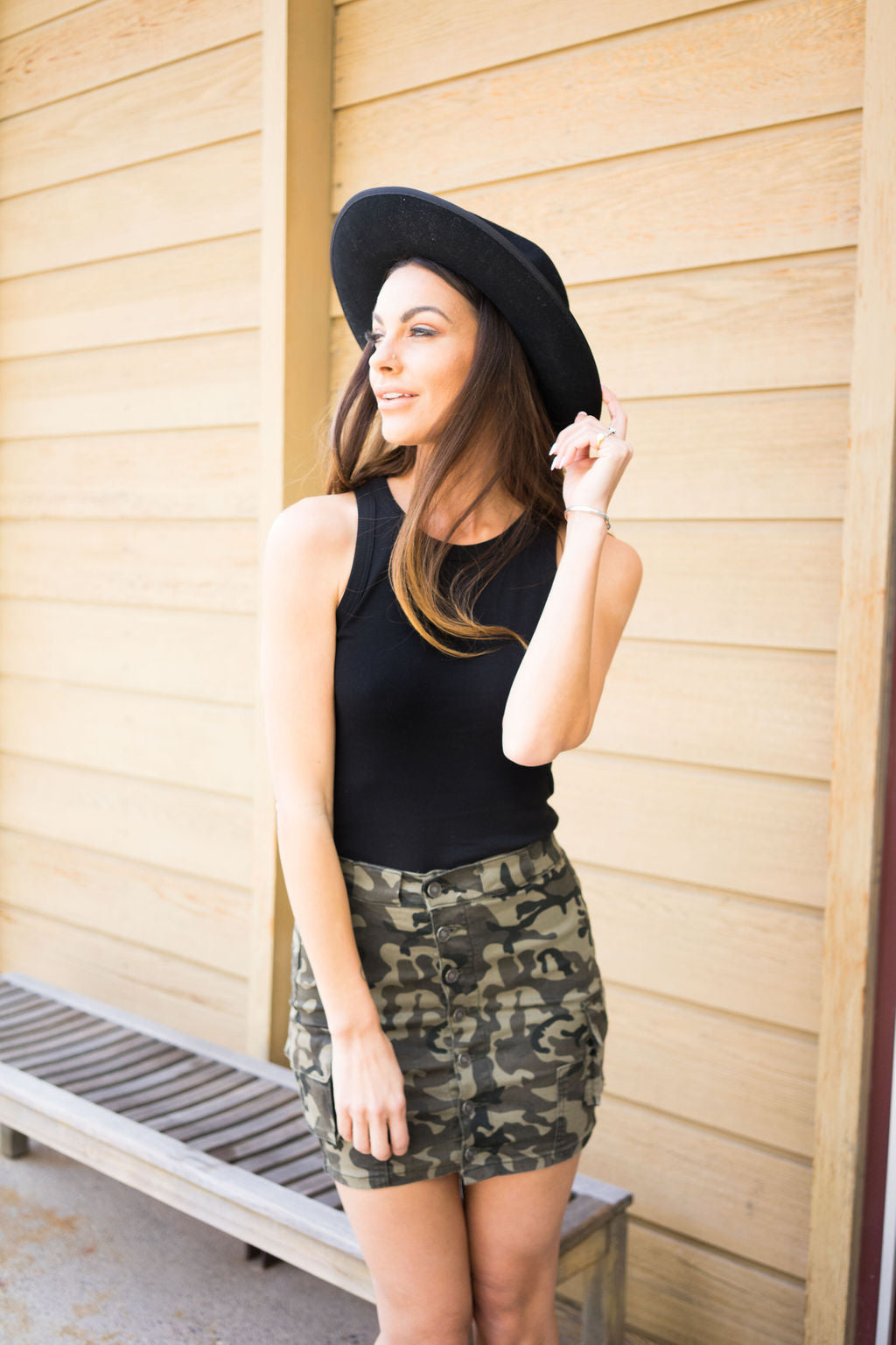 Our Bella Camo 7 Button Skirt