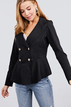 Load image into Gallery viewer, Long Sleeve Notched Lapel Collar Double Breasted Ruffle Hem Jacket