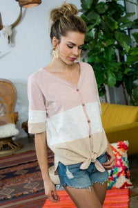 Short Sleeve Front Tie Button Down Color Block Knit Top