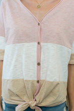 Load image into Gallery viewer, Short Sleeve Front Tie Button Down Color Block Knit Top