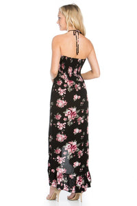 Women's Floral black dress with two spaghetti ties