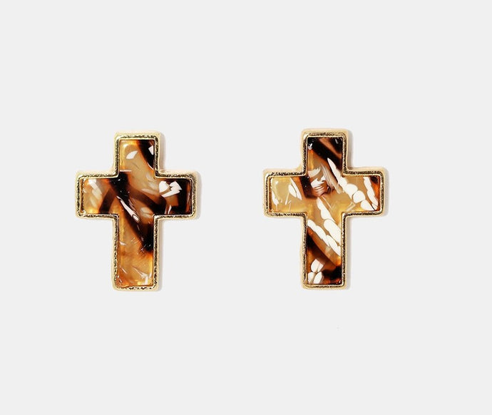 Marbled enamel cross earrings carmel color for pierced ears