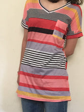 Load image into Gallery viewer, Multi-Striped Orange, Black, and Gray shirt with v-neck collar