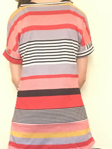 Multi-Striped Orange, Black, and Gray shirt with v-neck collar