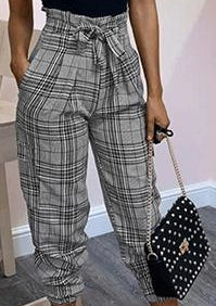 Women's Plaid Style scrunch pants