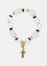 Load image into Gallery viewer, Marbled stones and gem bracelet with dangling cross charm