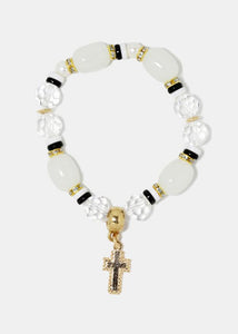 Marbled stones and gem bracelet with dangling cross charm
